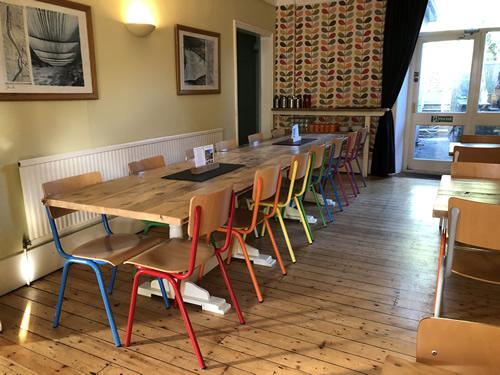 dining room rainbow chairs
