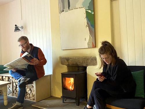 residents lounge wood burning stove.